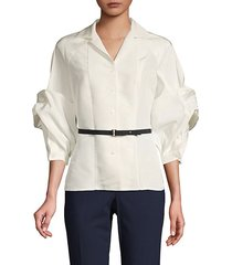 twist-sleeve belted silk top