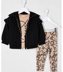 river island mini girl black 'sassy' three piece outfit