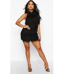 feather knit halterneck mini dress, black