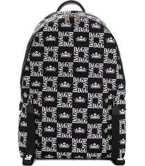 dolce & gabbana all-over logo backpack - black