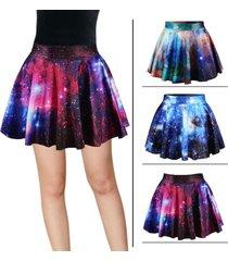 * new 3d high waist galaxy printed womens short pleated mini flared skirt **