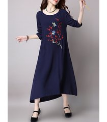 abiti da donna o-collo manica lunga irregolare ricamati floreali vintage