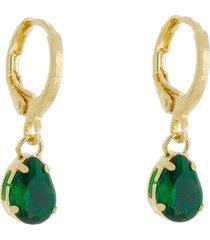 brinco piuka argolinha ivy gota zircã´nia esmeralda folheado a ouro 18k - verde - feminino - dafiti