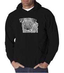 la pop art men's word art hooded sweatshirt - pug face