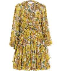 poppy frill silk mini dress