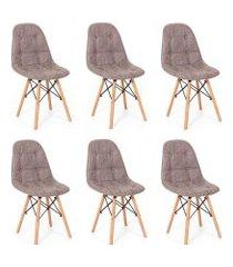 conjunto 06 cadeiras eiffel botonê special estofada base madeira - grafite