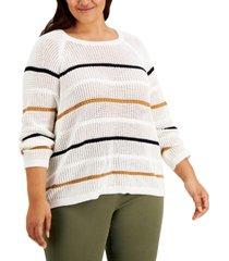 calvin klein plus size cotton striped sweater