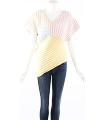 chanel multicolor cashmere chunky knit v-neck top pink/multicolor sz: m