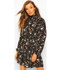 bloemenprint skater jurk met hoge kraag, black