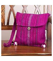 wool shoulder bag, 'inca magenta' (peru)