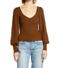 women's french connection joss blouson sleeve sweater, size small - brown