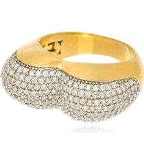 anel boca santa coração iluminado - ouro amarelo