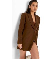 blazer jurk met split en geplooide mouwen, chocolate