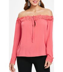crocheted panel off shoulder long sleeve blouse