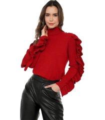 blusa arandelas mangas giive - omc478-rojo