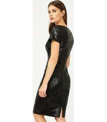 sukienka imitacja skóry dopasowana czarna