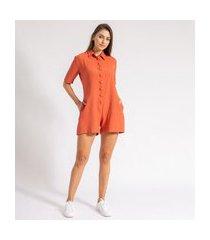macaquinho chemise crepe linho laranja la lima-g laranja