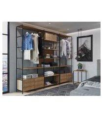 conjunto de 3  estantes guarda roupa p/ closet  c/ 4 gavetas e 1 mesa lateral - vermont/preto -  industrial - artesano