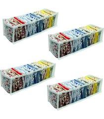 colméia organizadora vb home de gavetas transparente com viés branco 4 peças
