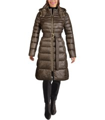 cole haan hooded belted puffer coat