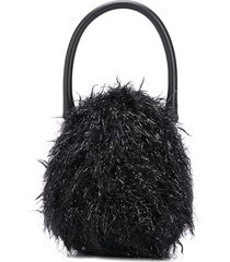 simone rocha faux-fur detailed handbag - black