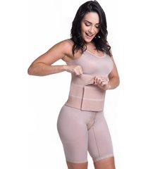 cinta modeladora pã³s cirãºrgico faixa abdominal velcro  abdominoplastia gastroplastia 3 gomos  biobela - bege - elastano - dafiti