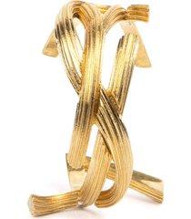 saint laurent rigid metal monogram shaped bracelet
