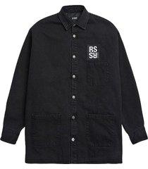 padded big fit denim shirt