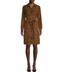 tiger-print long-sleeves dress