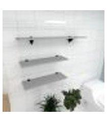 kit 3 prateleiras banheiro em mdf suporte tucano cinza 2 60x20cm 1 90x20cm modelo pratbnc18
