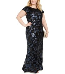 calvin klein plus size sequin cap-sleeve gown