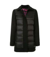escada jaqueta matelassê com mangas longas - preto