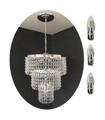 kit lustre cristal acrílico 30x70 + 3 lâmpadas led acl18