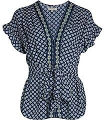 printed ruffle-sleeve tie-waist top