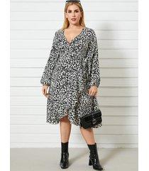 abrigo de lunares con cuello en v y talla grande diseño manga larga midi vestido