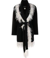 alanui feather trim belted card-coat - black