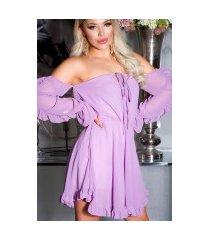 sexy off-shoulder babydoll jurk lila