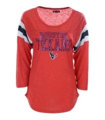 5th & ocean houston texans women's sleeve stripe three quarter raglan t-shirt