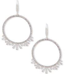 anne klein silver-tone baguette open drop earrings