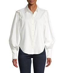 cinched cotton-blend blouse