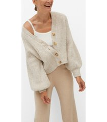 mango women's buttoned ribbed cardigan