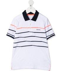 boss kidswear horizontal stripe-print polo shirt - white