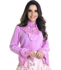 blusa miss lady crepe rosa com pedrarias