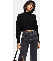 black chevron super crop knitted sweater - black