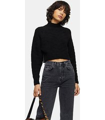 black chevron super crop knitted sweater - black