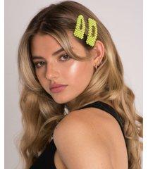 soho style neon beaded hair clips duo