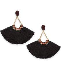 inc gold-tone crystal & fringe fan drop earrings, created for macy's