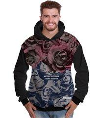 blusa de moletom di nuevo estampa total rosas vermelhas degradê rap preto