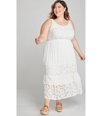 lane bryant women's lace-inset midi dress 18/20 white