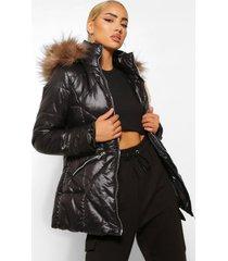 gewatteerde jas met stiksels en capuchon met faux fur zoom, black